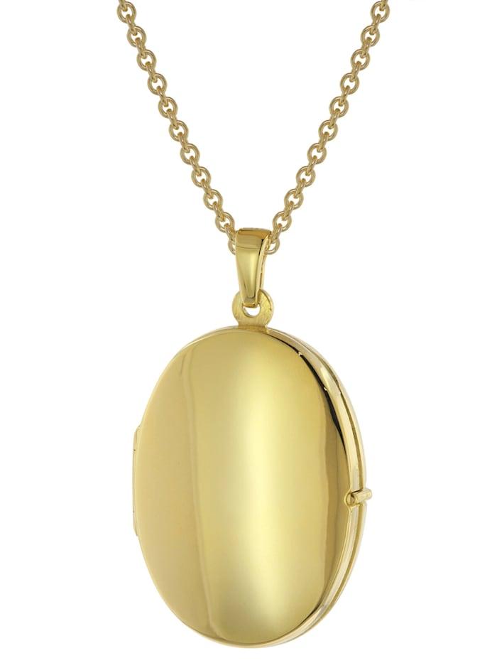 trendor Medaillon mit Halskette für Damen Gold auf Silber 925, Goldfarben