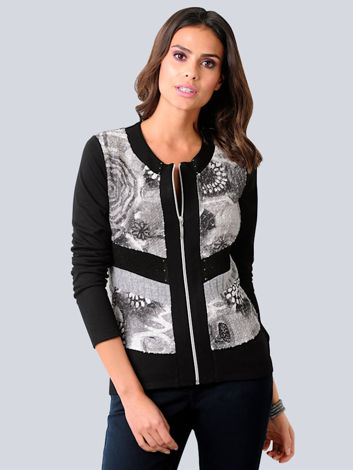 Alba Moda Shirtjacke im Vorderteil mit Effektgarn ausgearbeitet, Grau/Silberfarben/Schwarz