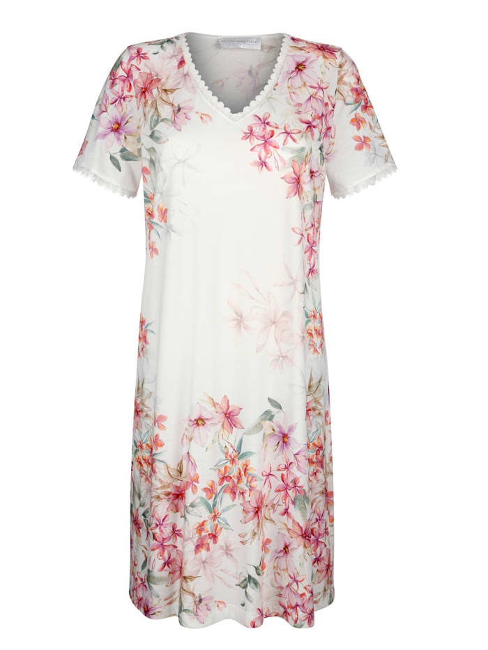 MONA Nachthemd mit romantischem Blumendruck, Weiß/Fuchsia/Grün