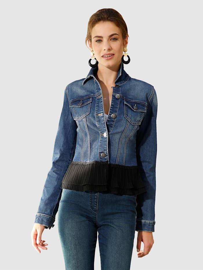 AMY VERMONT Jeansjacke mit Plissee am Saumabschluss, Dark blue
