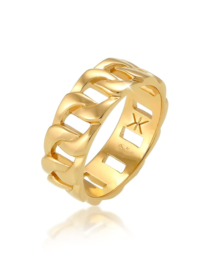 Kuzzoi Ring Herren Chunky Chain Look Kette Gllieder 925 Silber, Gold