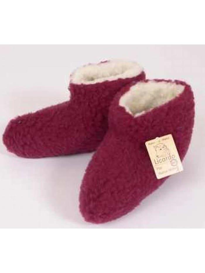 Linke Licardo Bettschuhe Bettsocken Wolle bordeaux, bordeaux