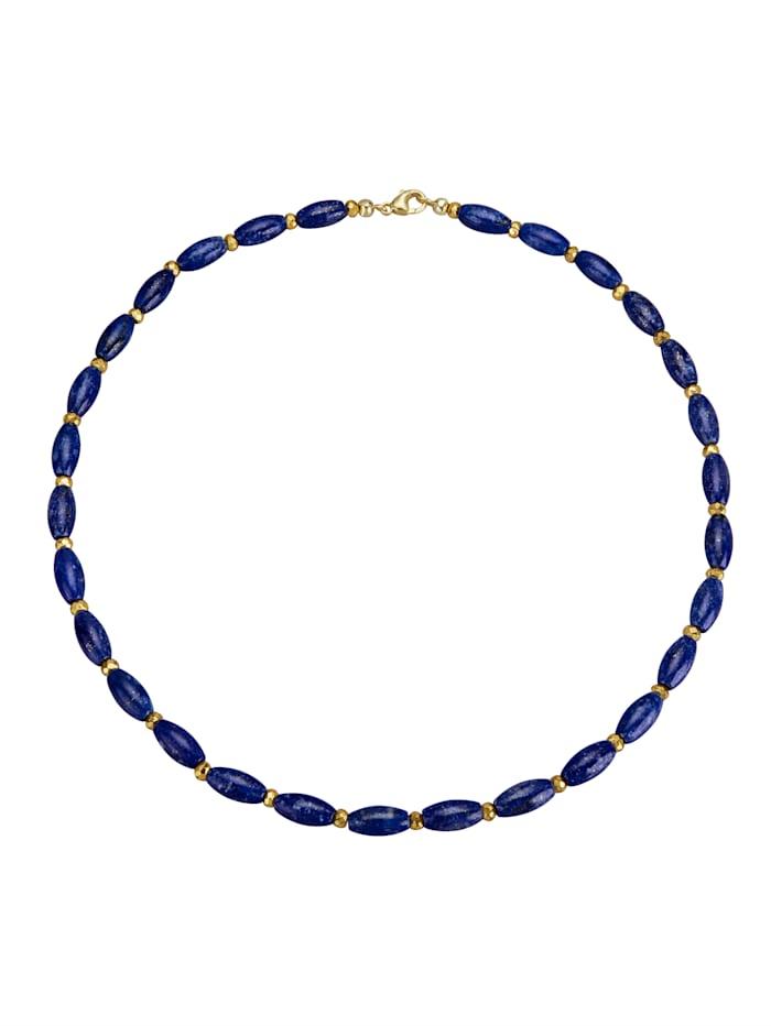 Amara Farbstein Collier mit Lapislazuli und Pyrit, Blau