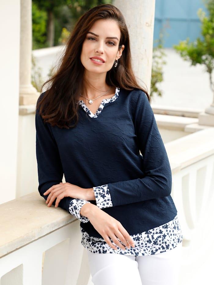 Paola Sweatshirt in strukturierter Ware, Marineblau/Weiß