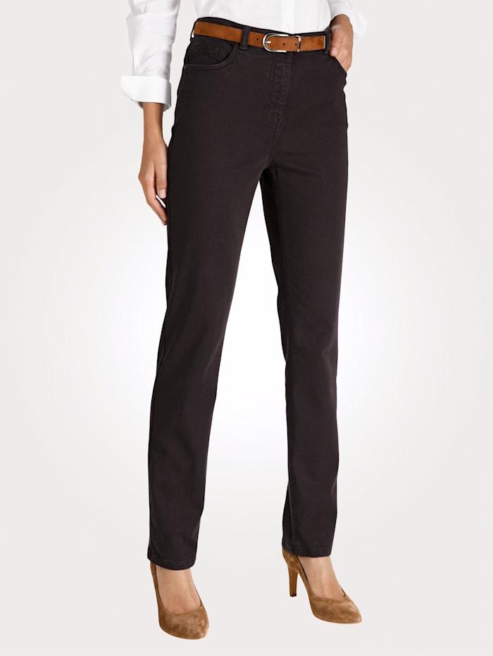 MONA Pantalon partiellement extensible en grandes tailles, Marron