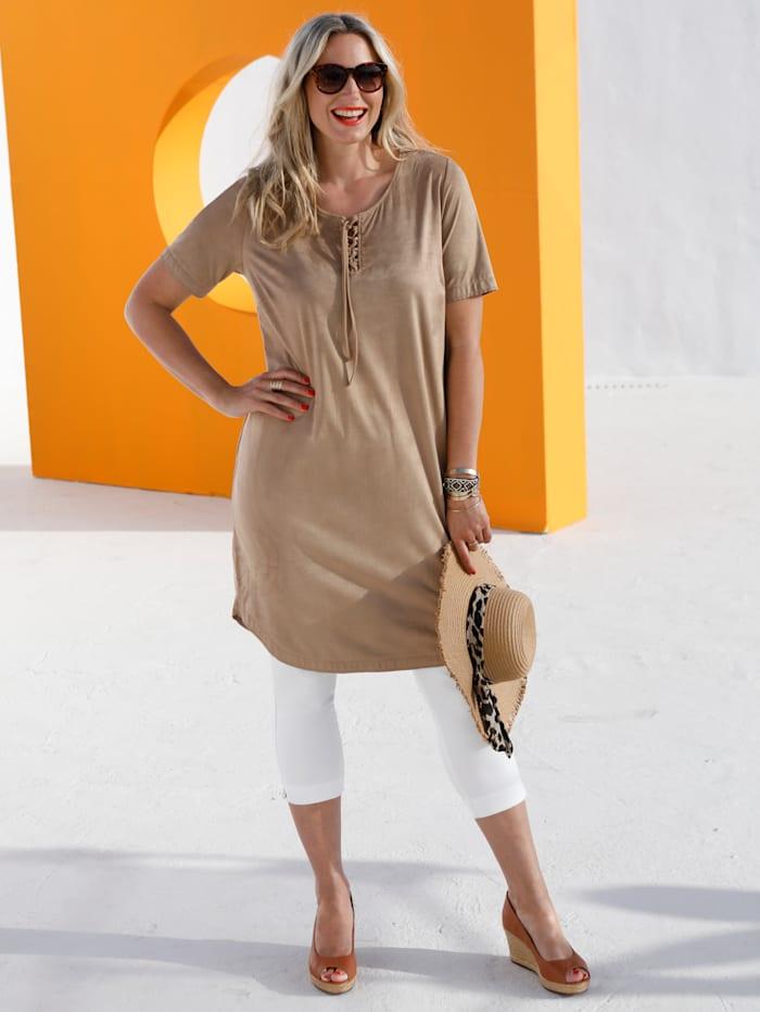 MIAMODA Kleid mit modischer Schnürung im Ausschnitt, Camel
