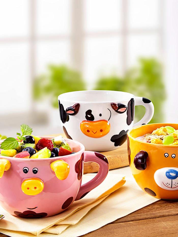 """Set de tasses Jumbo 3 pièces """"Trio d'animaux"""", Multicolore"""