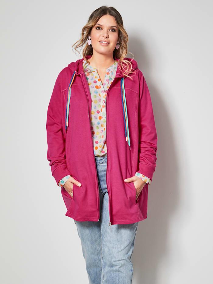 Janet & Joyce Sweat bunda s pestrými šnúrkami na kapucni, Pink