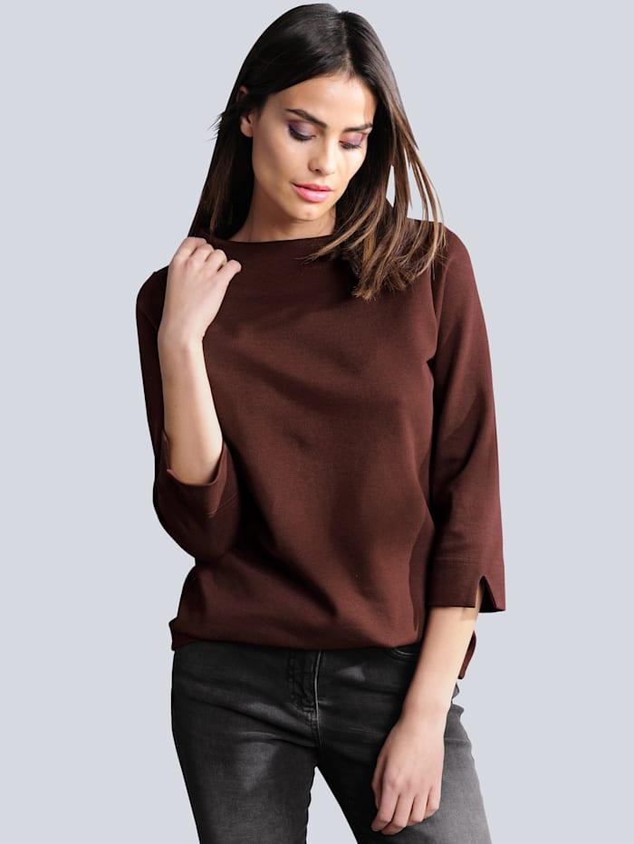 Alba Moda Shirt van piqué met structuur, Bordeaux