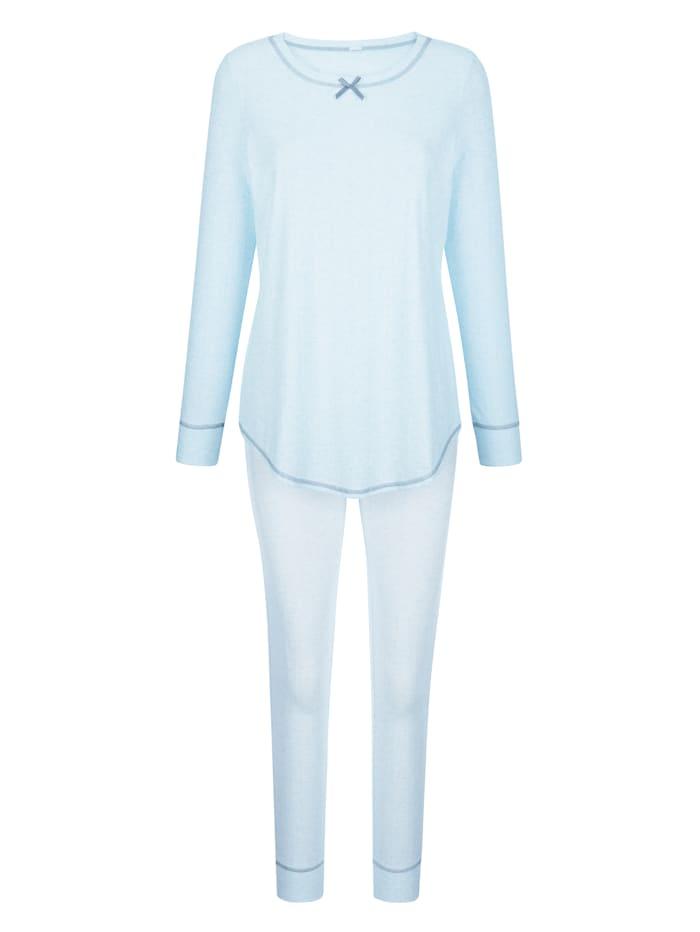 Simone Schlafanzug mit hüschen Kontrastnähten, Hellblau