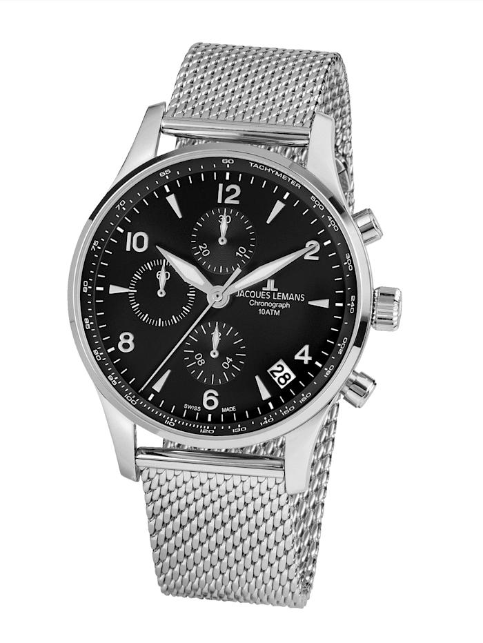 Jacques Lemans Herren-Uhr-Automatik-Chronograp Serie: London Automatic, Kollektion: Classic: 1- 1935D, Silberfarben