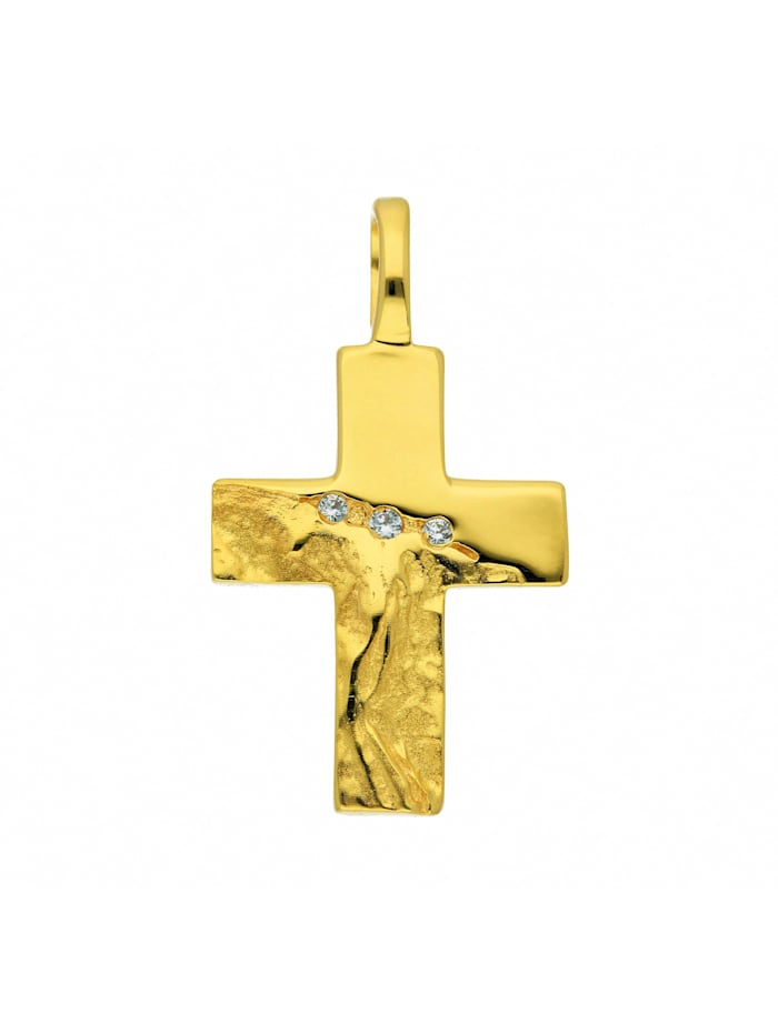 1001 Diamonds Damen & Herren Goldschmuck 333 Gold Kreuz Anhänger mit Zirkonia, gold