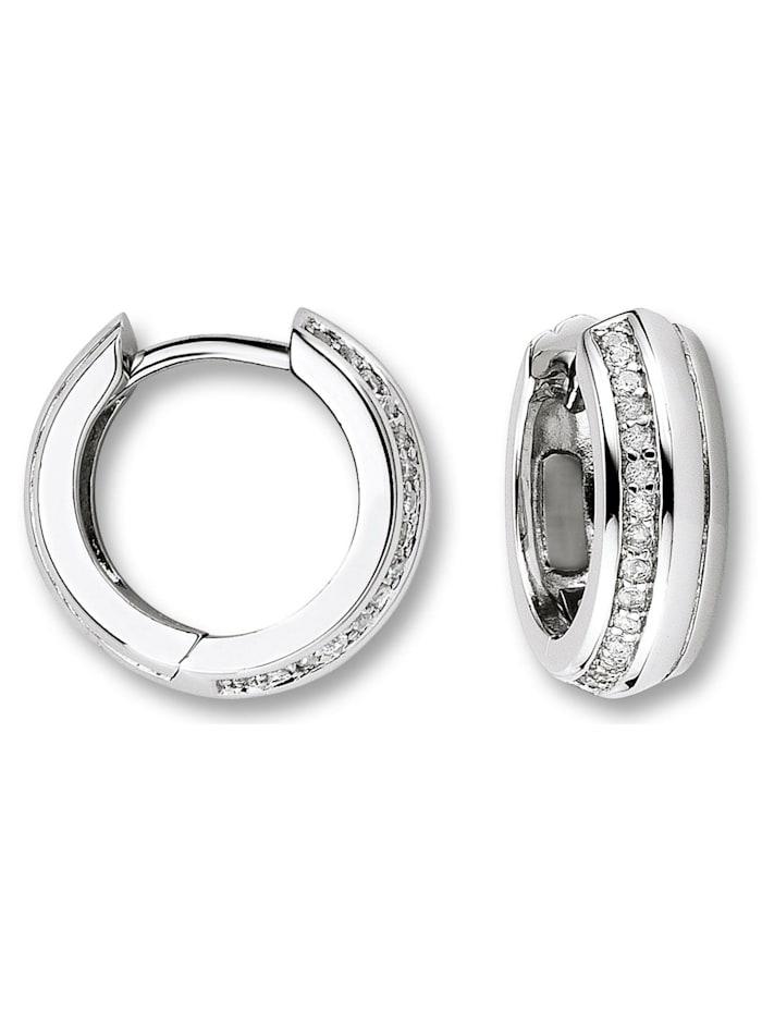 One Element Damen Schmuck Orhringe / Creolen aus 925 Silber Zirkonia, silber