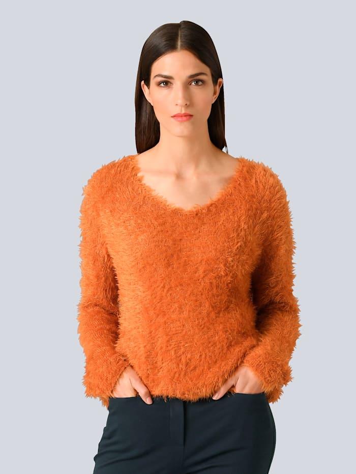Alba Moda Pullover mit Effektgarn, Orange