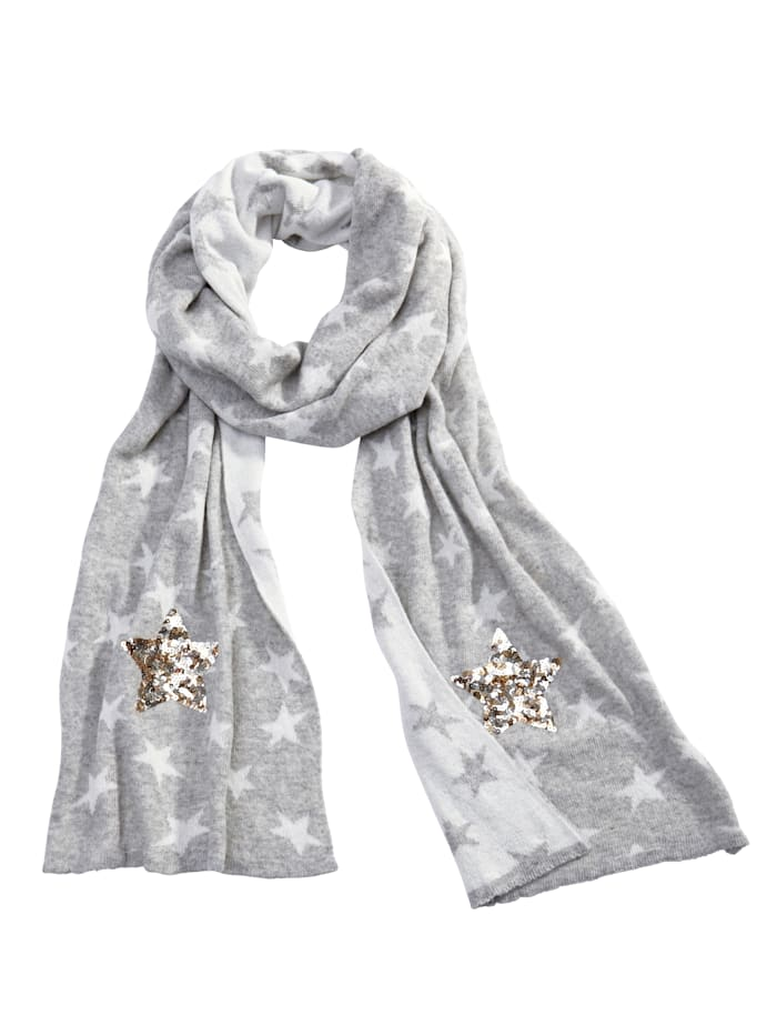 Angel of Style Schal mit Sternen aus Pailletten, grau-ecru