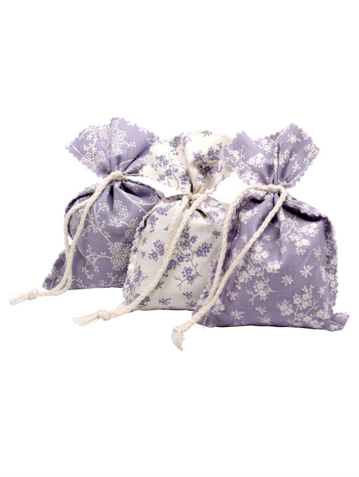 Herbalind Lavendel-Duftsäckchen 3er Set, weiß/flieder