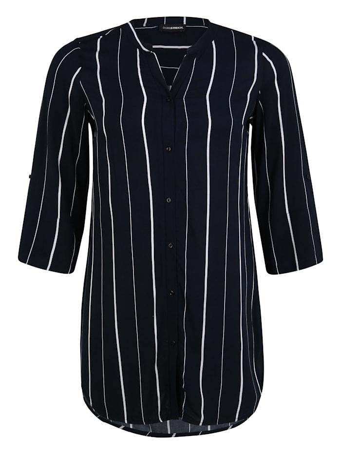 Doris Streich Bluse mit Streifen-Muster, marine