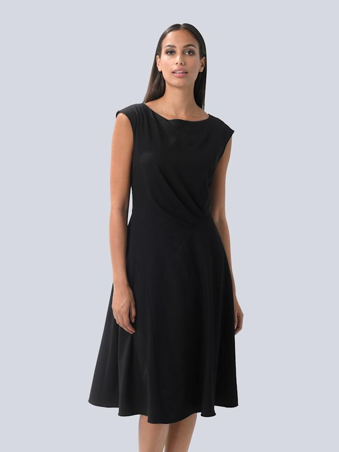 Alba Moda Kleid mit femininen Falten, Schwarz