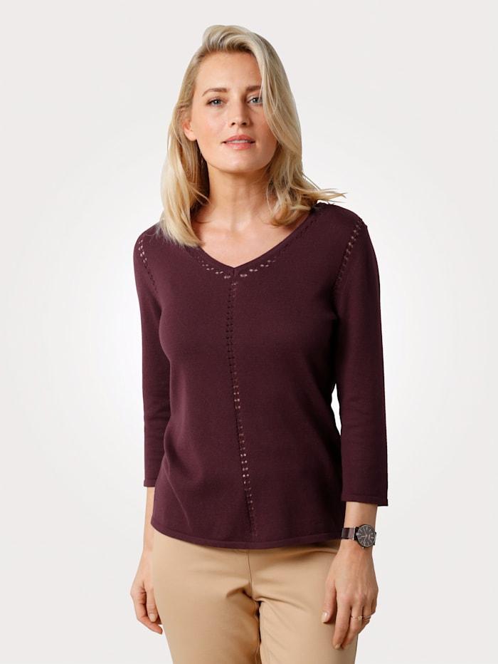 MONA Jumper with ajour knit detailing, Bordeaux
