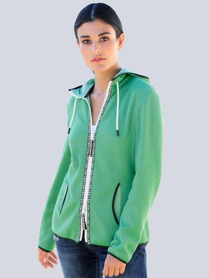 Alba Moda Sweatjacke mit aufwändiger Innenverarbeitung, Grün