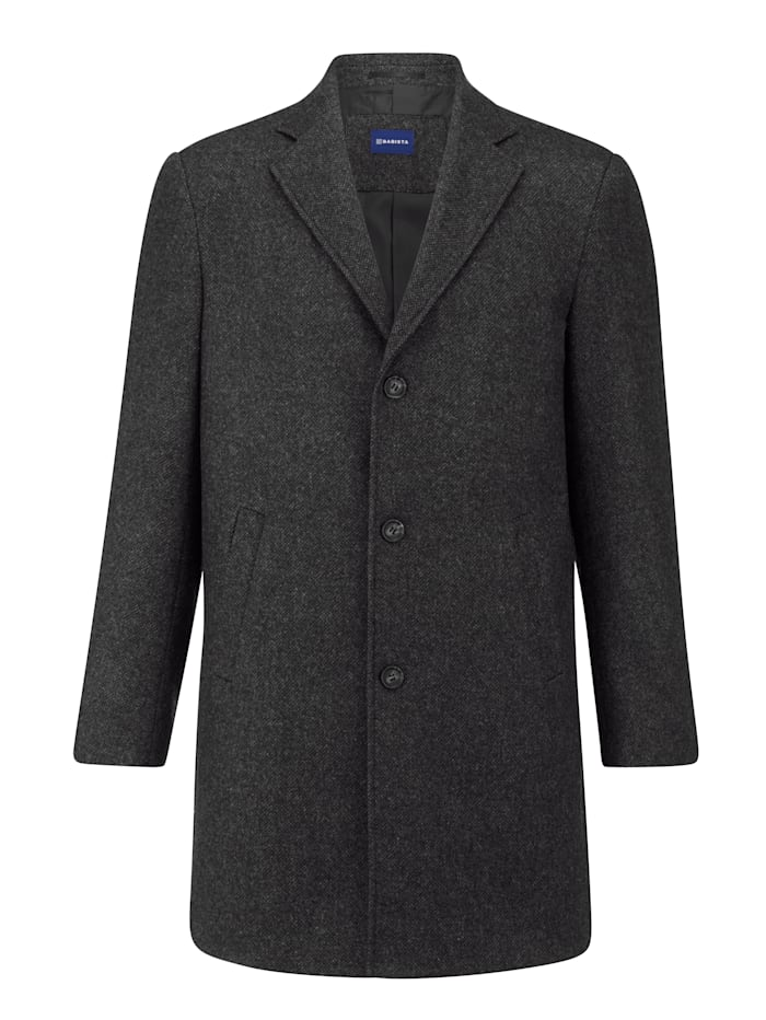 BABISTA Manteau en laine à motif chevrons en tissé-teint, Gris/Noir
