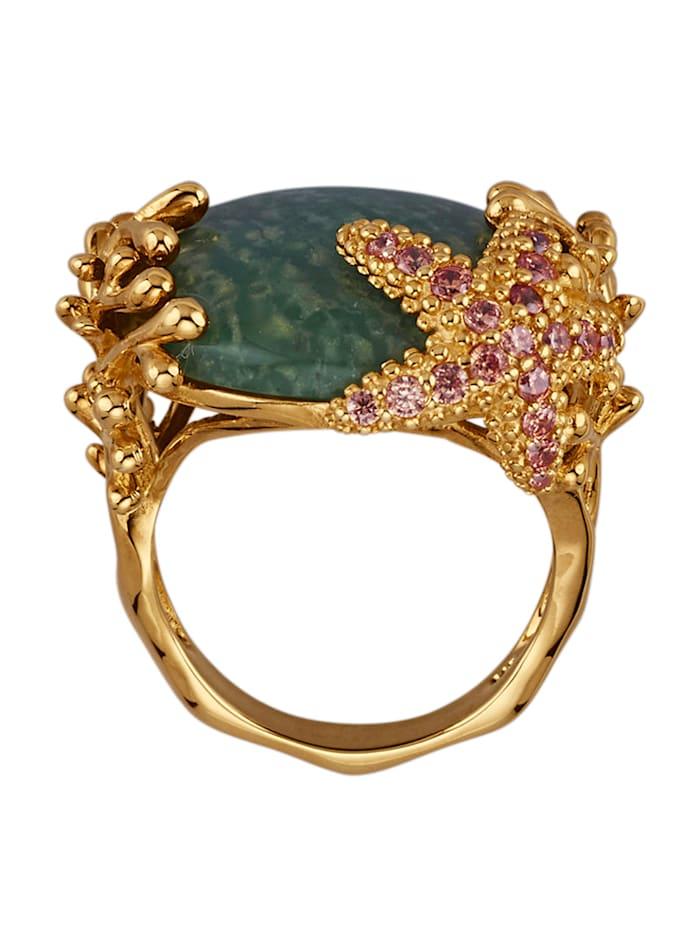 Seestern-Ring mit grünem Quarz und synth. Zirkonia