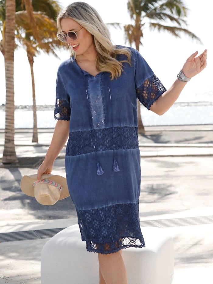 MIAMODA Kleid mit Spitzeneinsätzen, Blau