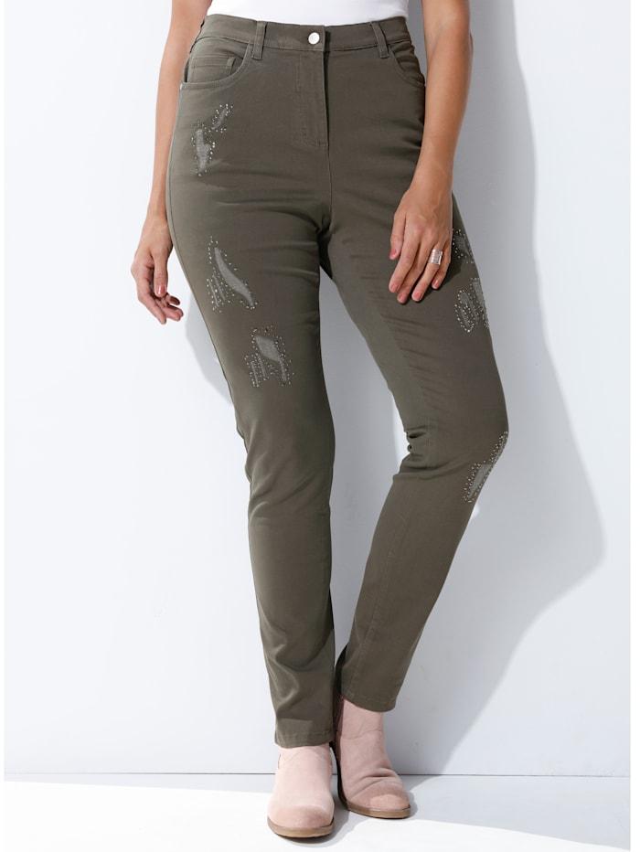 MIAMODA Jeans vorne am Bein mit Nieten besetzt, Taupe