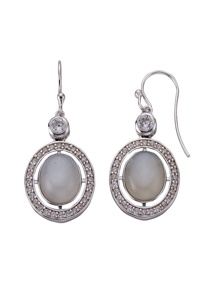 ZEEme Ohrhänger 925/- Sterling Silber Mondstein weiß 4,7cm Glänzend 925/- Sterling Silber, weiß