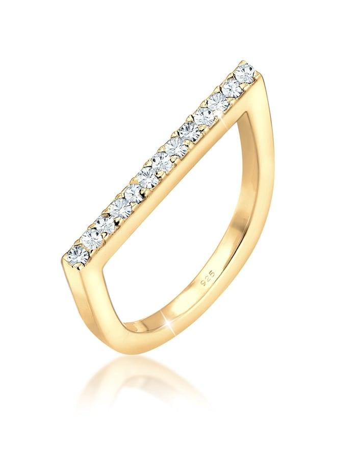 Elli Ring Geo Trend Kristalle 925 Sterling Silber, Gold