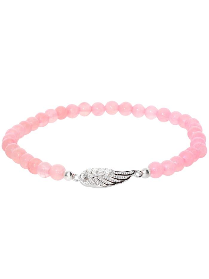 1001 Diamonds Engelsflügel Rosenquarz Armband 925 Silber 17 cm, rosa