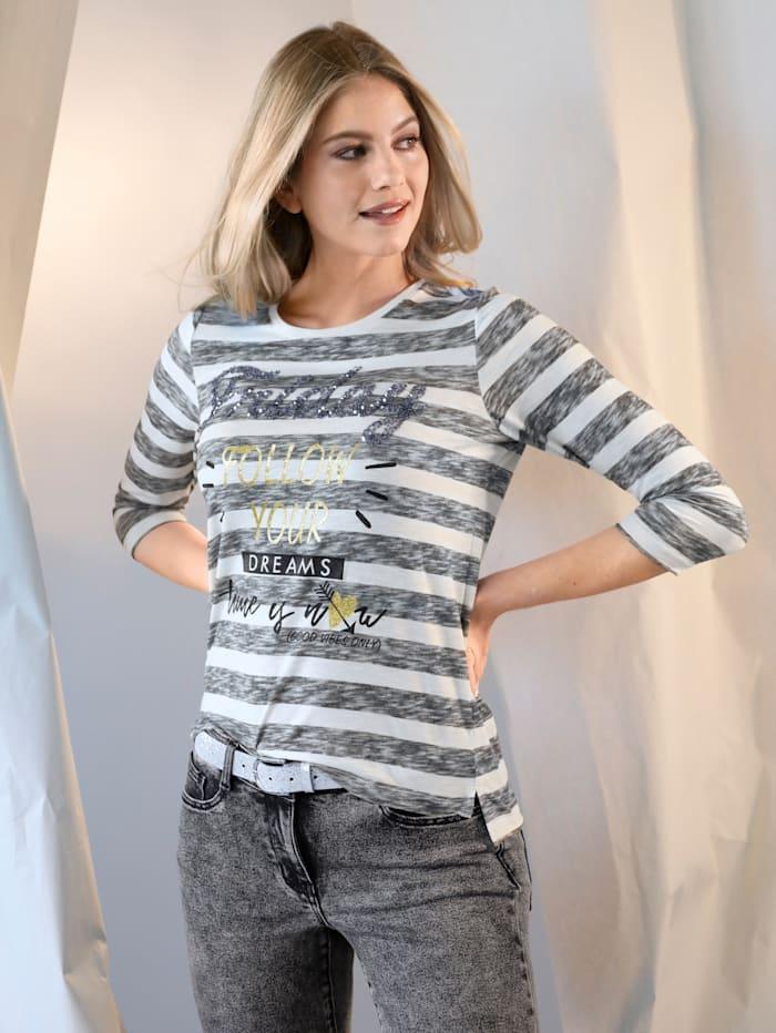 AMY VERMONT Shirt meliert im Streifen-Dessin, Off-white/Grau