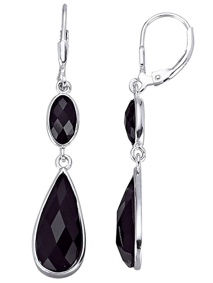 AMY VERMONT Ohrringe mit schwarzen Kristallen, Schwarz