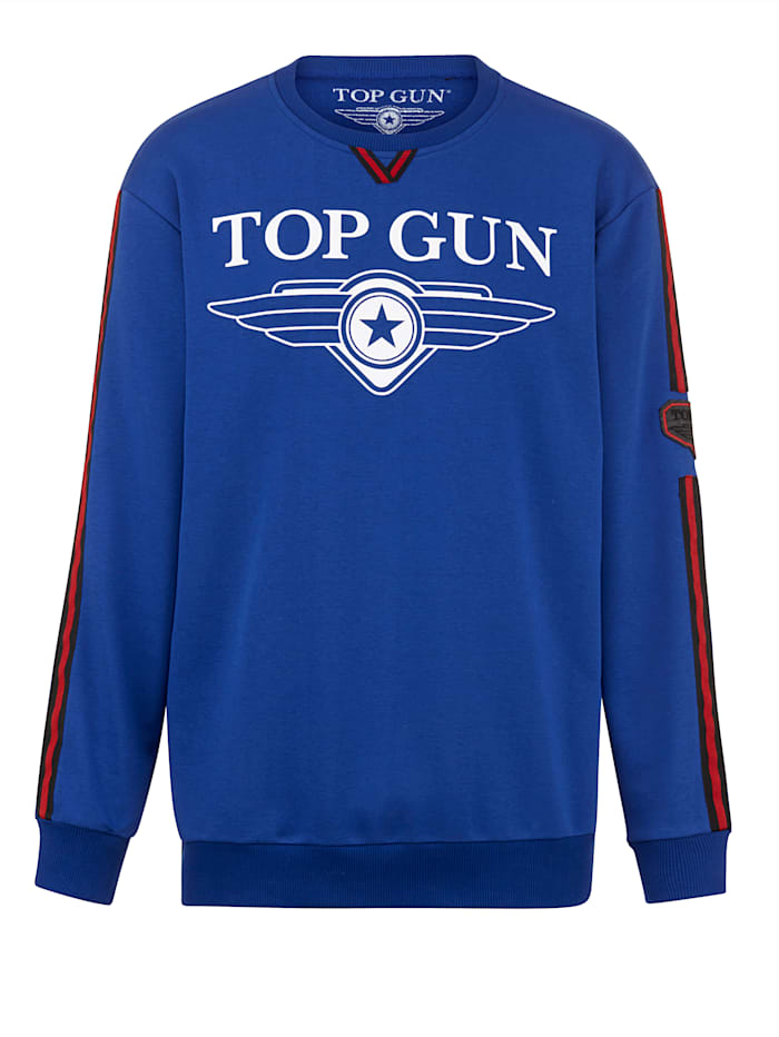 Top Gun Sweat-shirt à imprimé placé, Bleu/Rouge