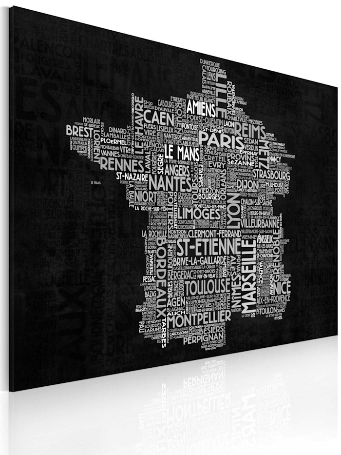 artgeist Wandbild Text map of France on the black background, Grau,Weiß