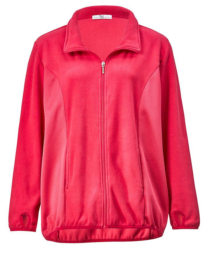 Janet & Joyce Fleece vest met inzetten opzij, Pink