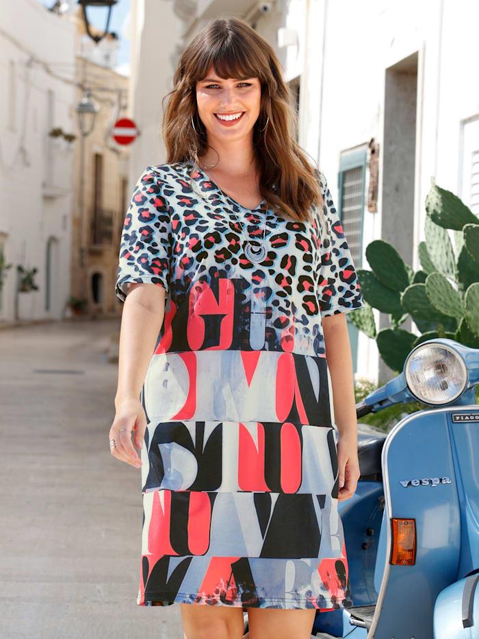 MIAMODA Kleid mit Dekosteinchen, Grau/Koralle/Schwarz