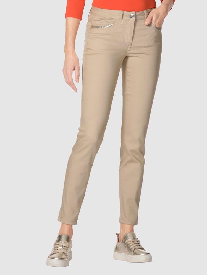 AMY VERMONT Jeans mit Pailletten an Vorder- und Hintertaschen, Sand