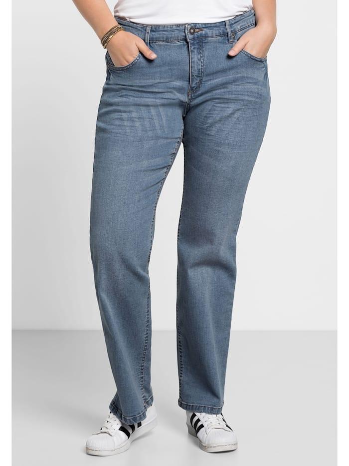 Sheego Jeans Individuelle Used-Effekte, blue Denim
