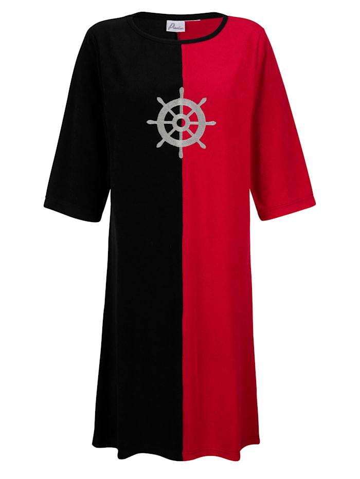Maritim Plážové šaty snámorníckou výšivkou, Čierna/Červená