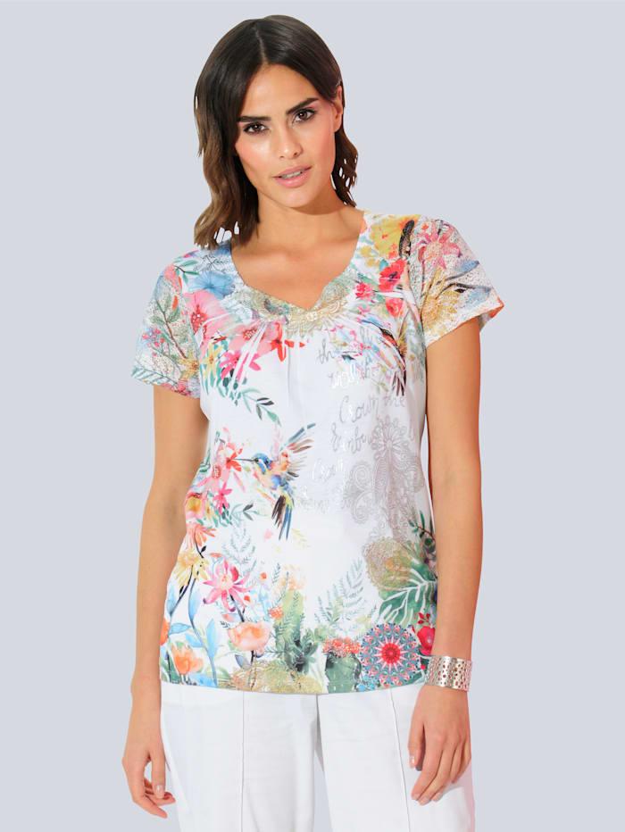 Alba Moda Shirt mit modischem Druck, Weiß/Grün/Rot/Gelb/Blau