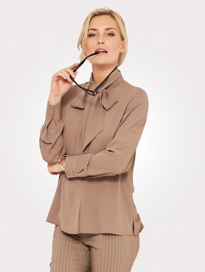 MONA Tie neck blouse in a versatile design, Taupe