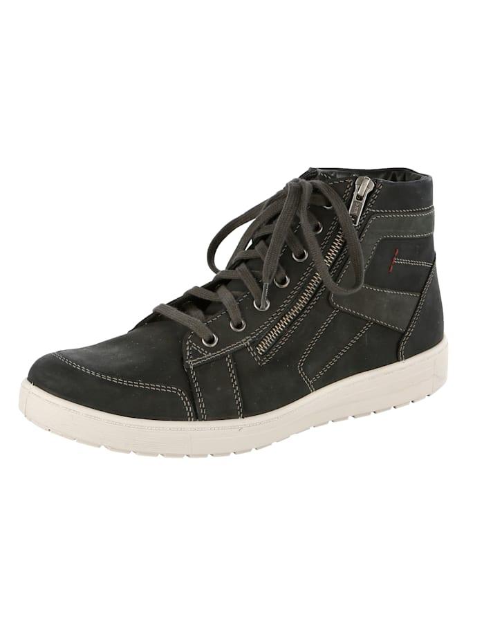 Jomos Šnurovacia obuv s kontrastným ozdobným prešívaním, Čierna