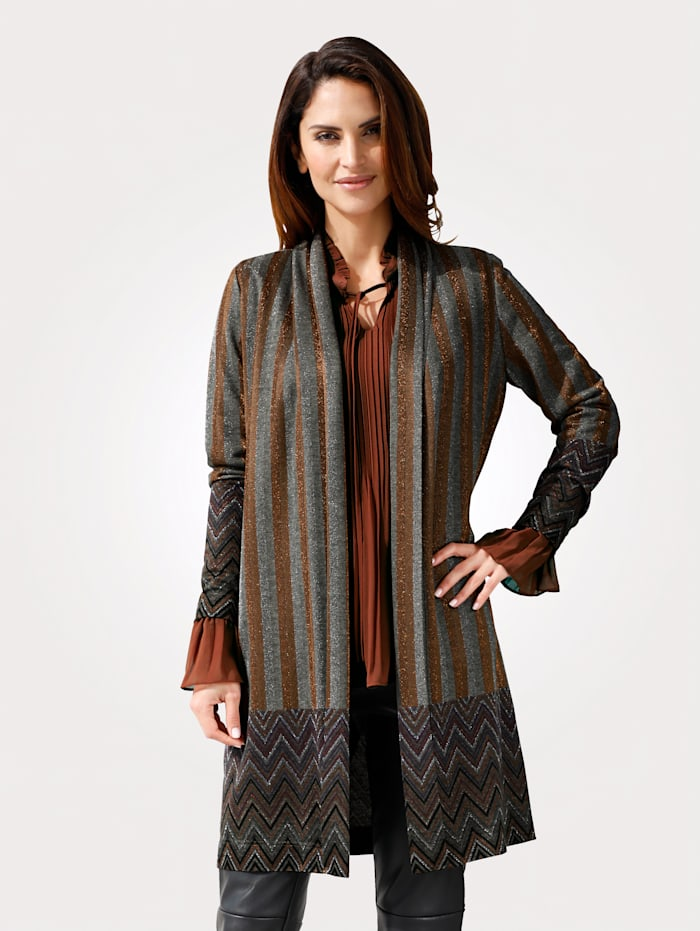 MONA Cardigan with shimmering thread, Burnt Orange/Grey/Silver-Coloured