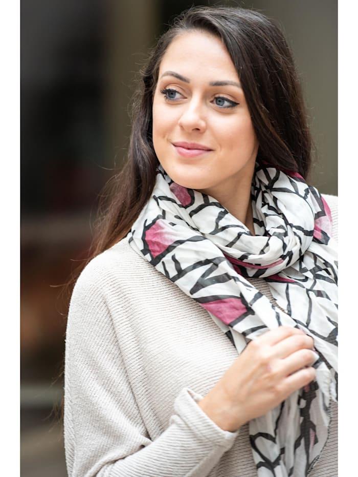 Collezione Alessandro Italienischer Schal Osaka Made in Italy, weiß
