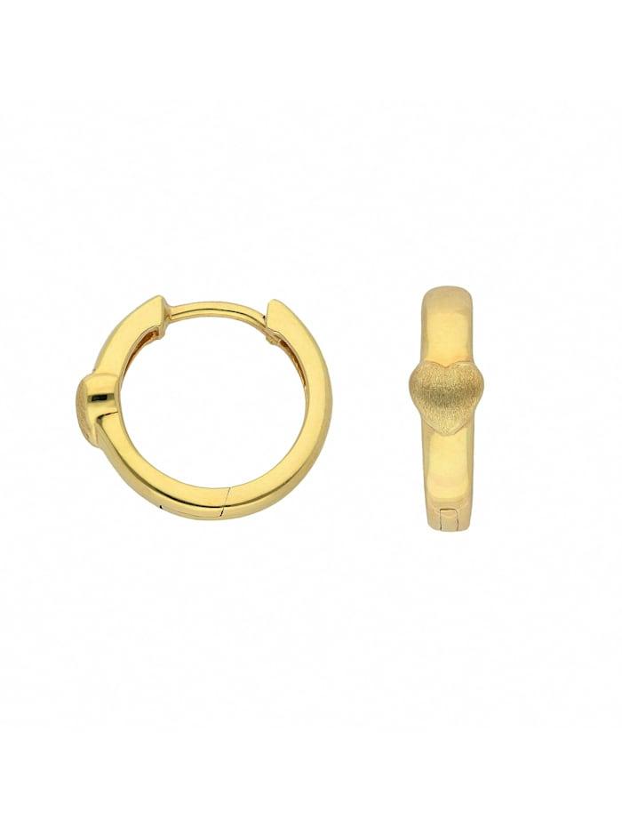 1001 Diamonds Damen Goldschmuck 333 Gold Ohrringe / Creolen Herz Ø 14 mm, gold