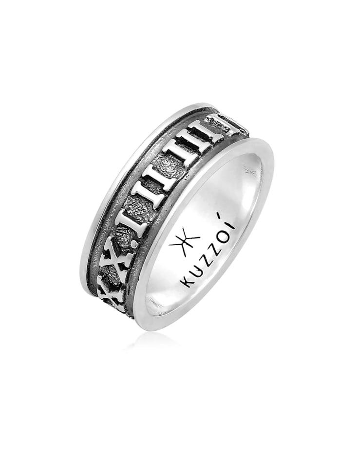 Kuzzoi Ring Herren Bandring Römische Zahlen 925 Silber, Grau