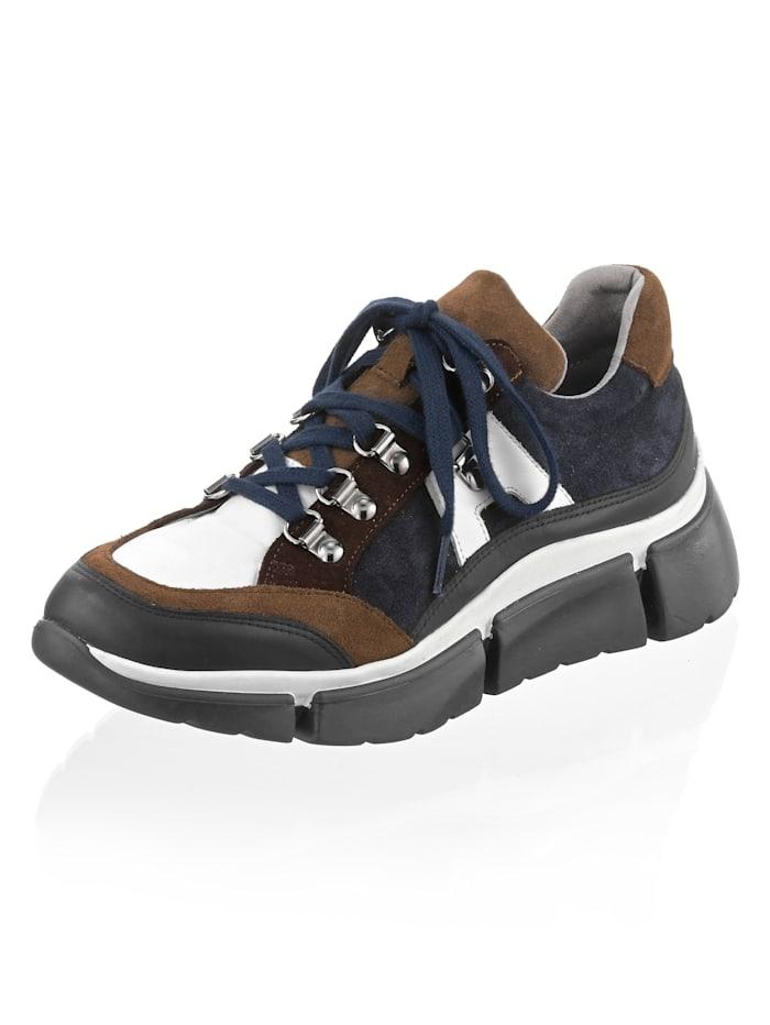 Alba Moda Sneaker aus Rindsleder, Weiß/Taupe/Braun