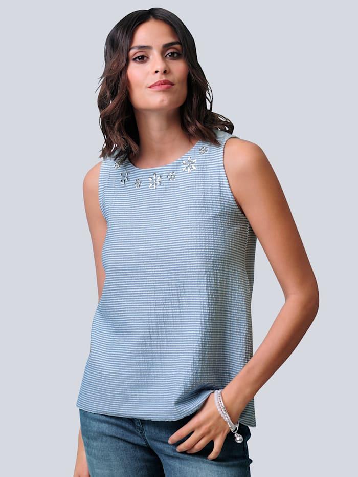 Alba Moda Topje van sportief seersucker materiaal, Lichtblauw/Wit