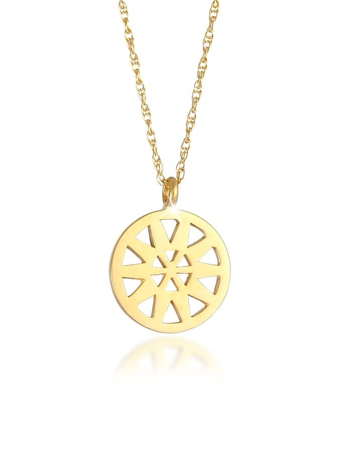 Elli Halskette Ornament Anhänger Gedrehte Gliederkette 925 Silber, Gold